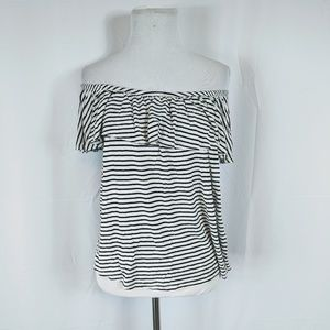 Free Kisses Striped Ruffled Off the Shoulder Top